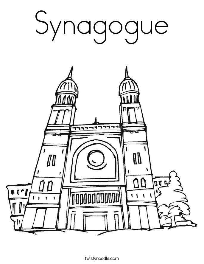 SynagogueJewish Worship Place Coloring Page Twisty Noodle