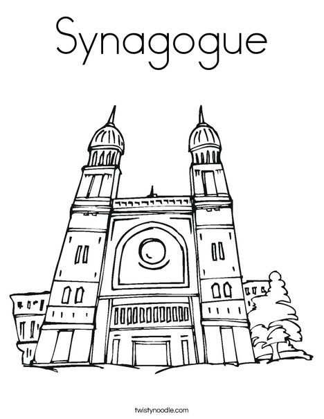 Synagogue Coloring Page Twisty Noodle