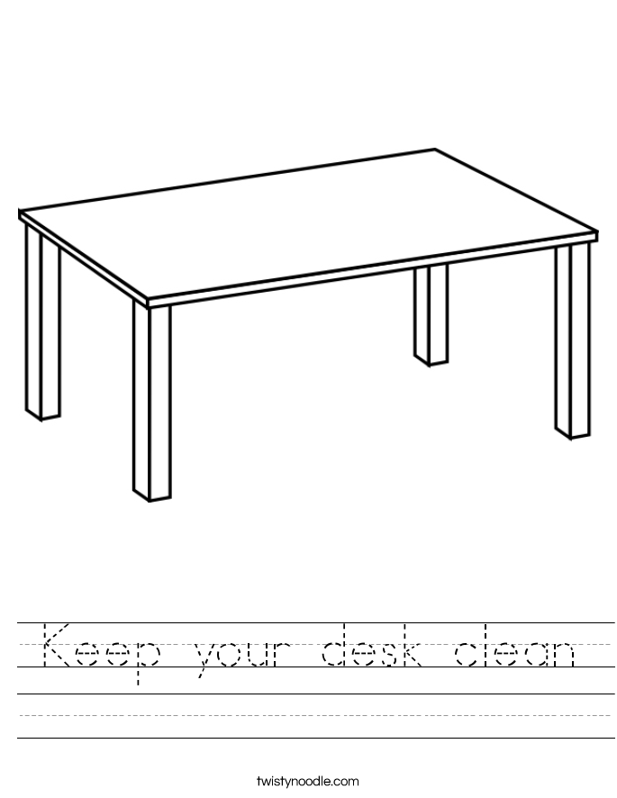 Keep your desk clean Worksheet