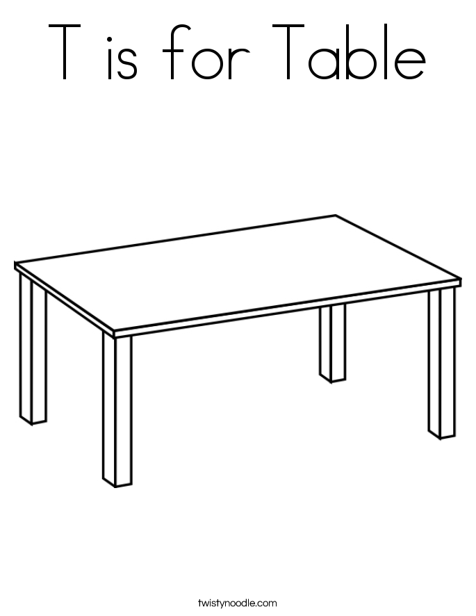 T is for Table Coloring Page
