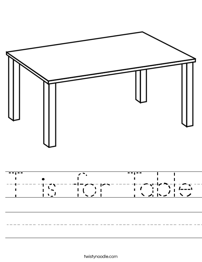 is for Table Worksheet - Twisty Noodle