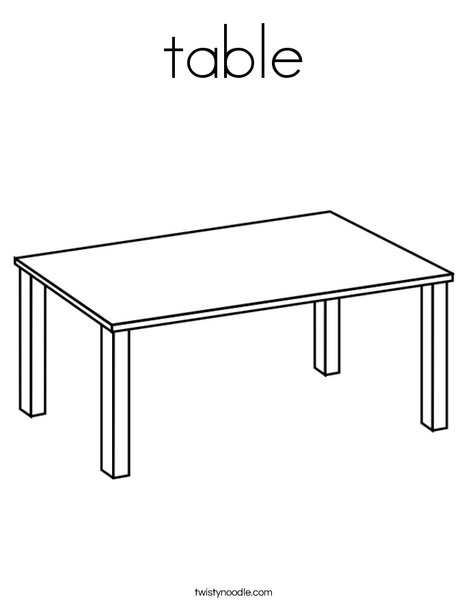 T is for Table Coloring Page  Table Coloring Page