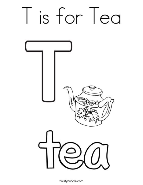 T is for Tea Coloring Page