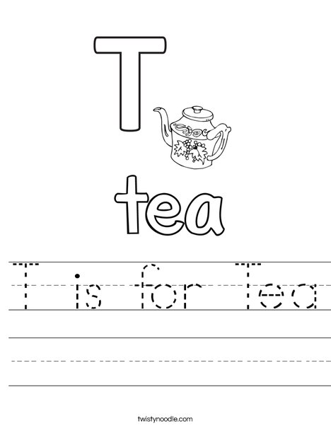 T is for Tea Worksheet