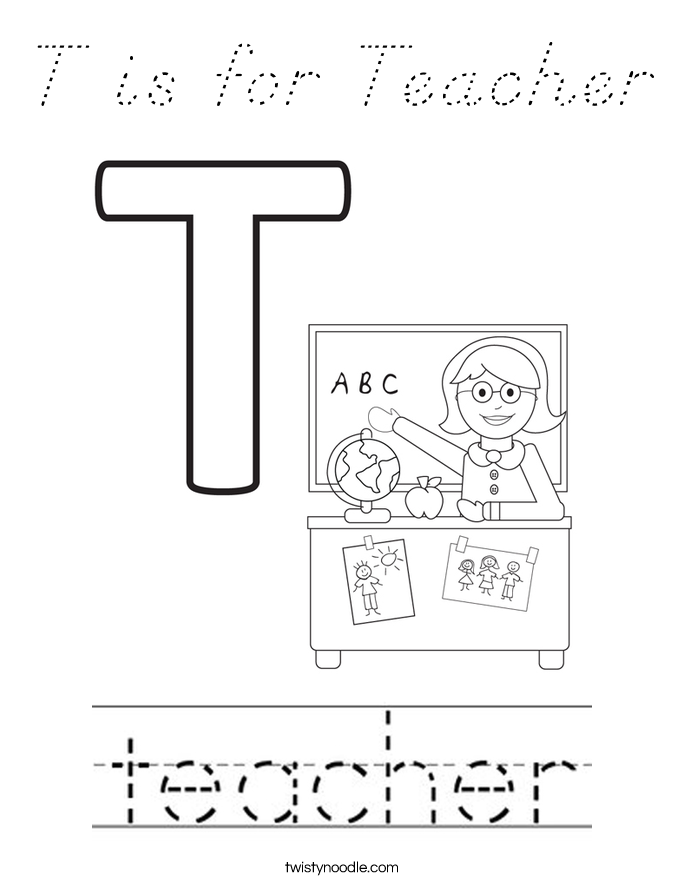 T is for Teacher Coloring Page
