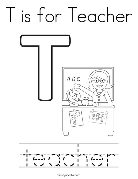 t is for teacher coloring page twisty noodle