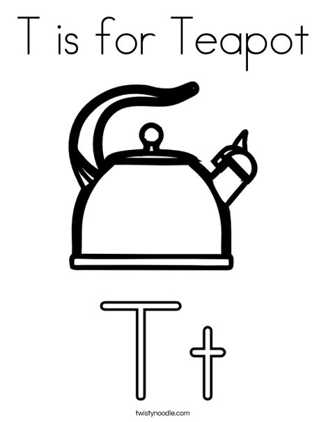 T is for Teapot Coloring Page