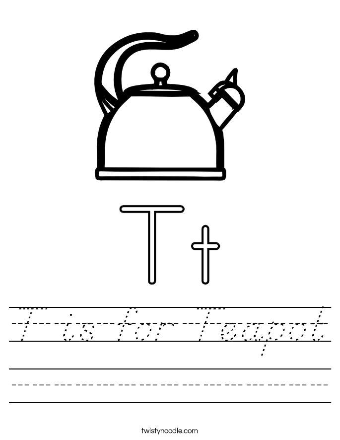 T is for Teapot Worksheet