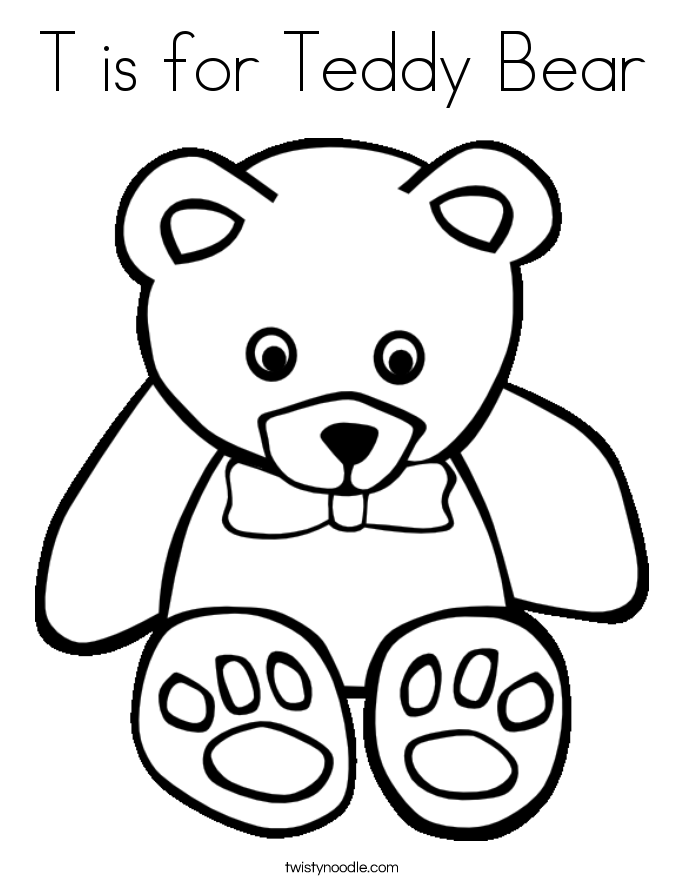 T is for Teddy Bear Coloring Page - Twisty Noodle