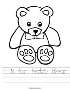 T is for Teddy Bear Handwriting Sheet