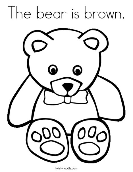 The Bear Is Brown Coloring Page Twisty Noodle Brown Coloring Page