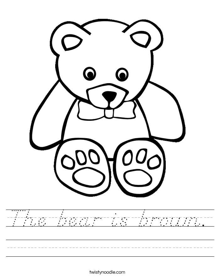 The bear is brown. Worksheet