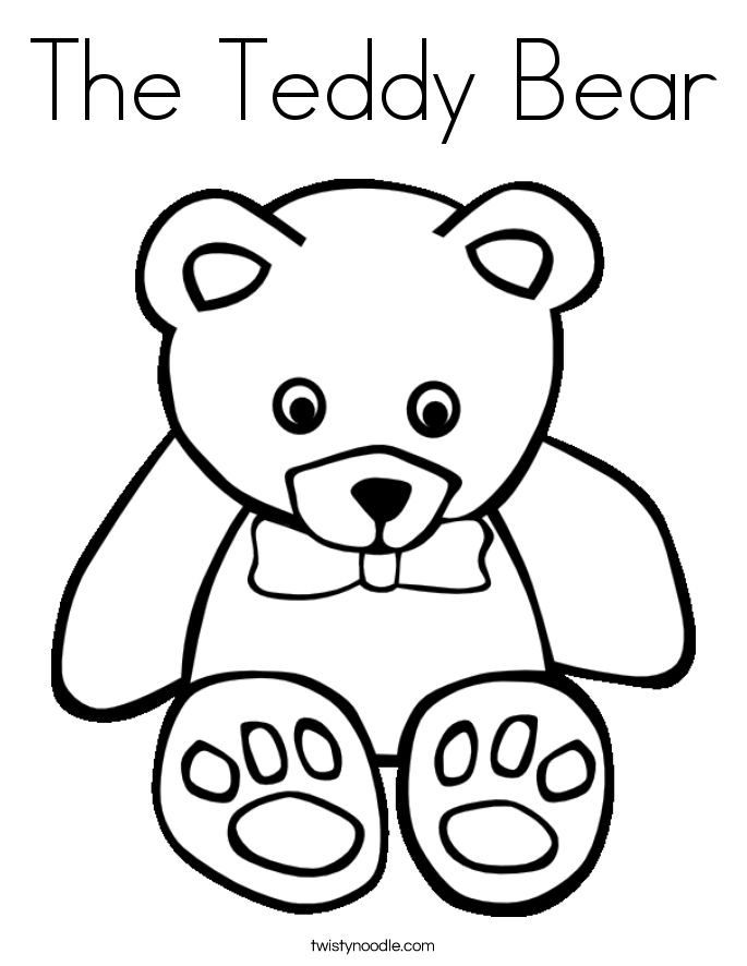 The Teddy Bear Coloring Page - Twisty Noodle