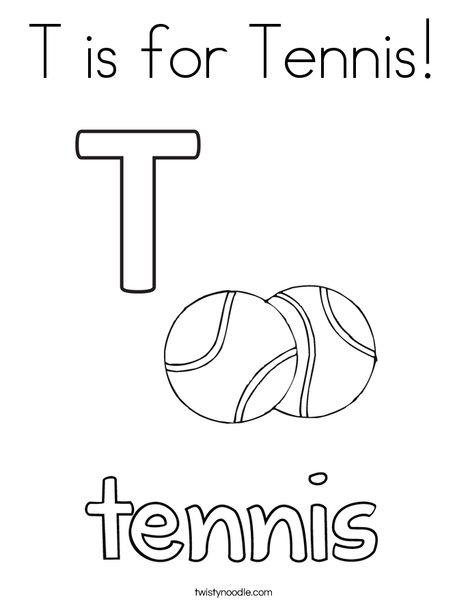 T is for Tennis Coloring Page