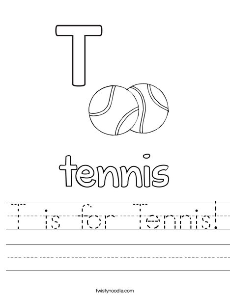 T is for Tennis Worksheet