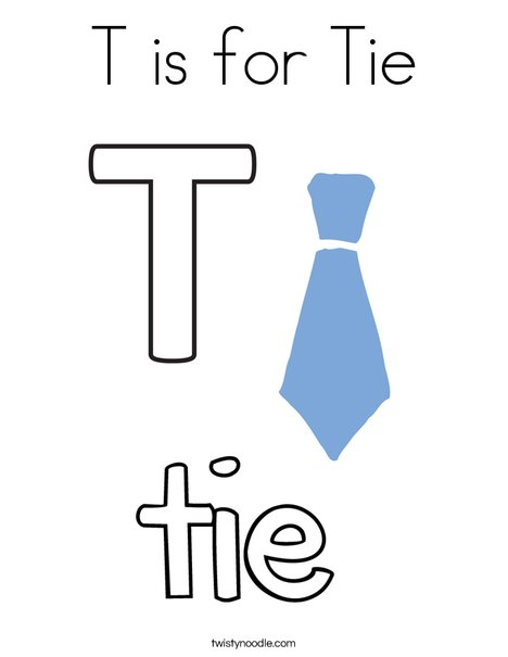T is for Tie Coloring Page