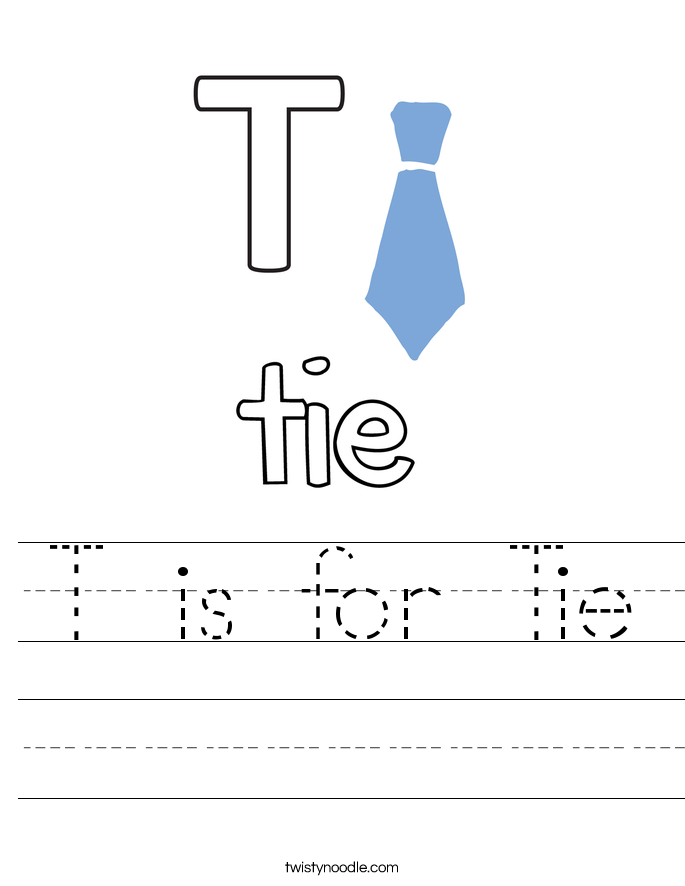 T is for Tie Worksheet