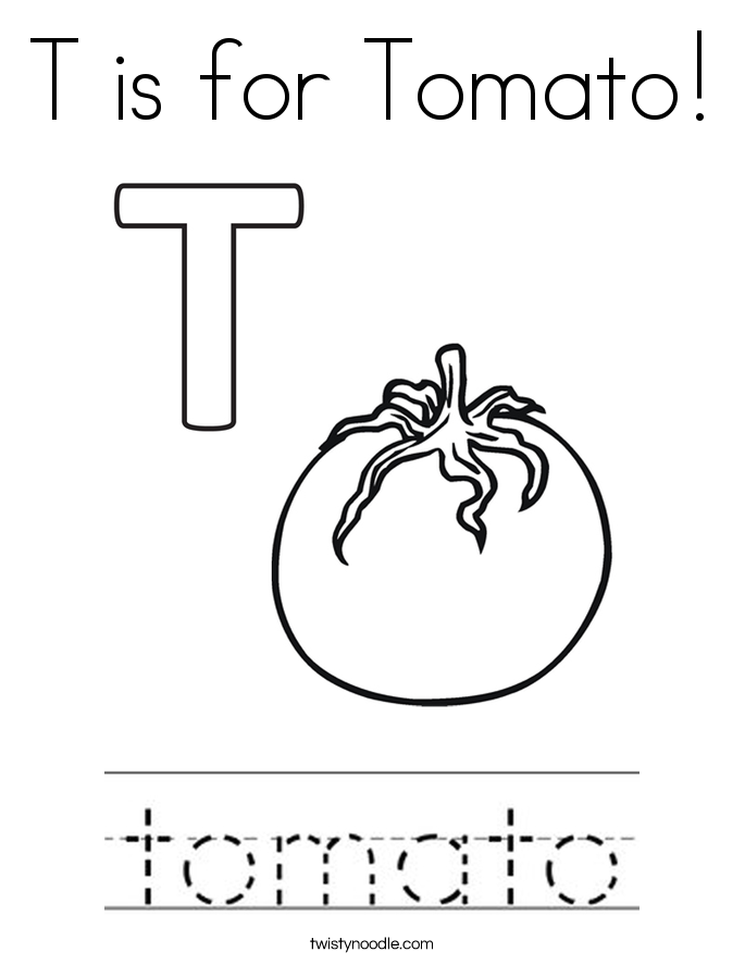 T is for tomato coloring page twisty noodle for Tomato plant coloring page