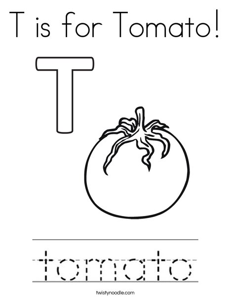 T Is For Tomato Coloring Page