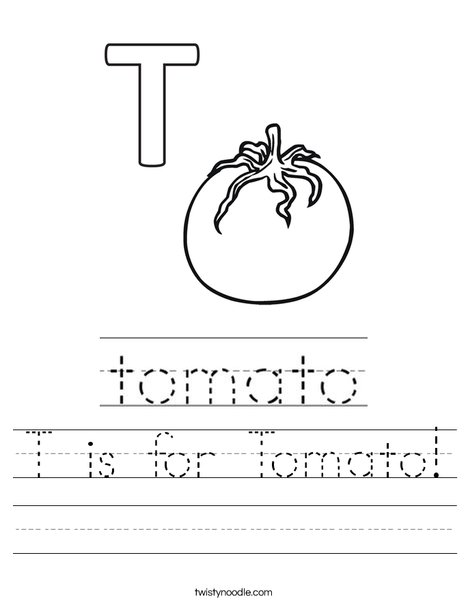 T is for tomato! Worksheet