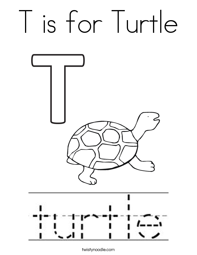 T is for Turtle Coloring Page