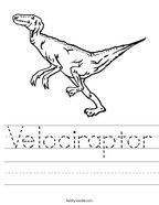 Velociraptor Handwriting Sheet