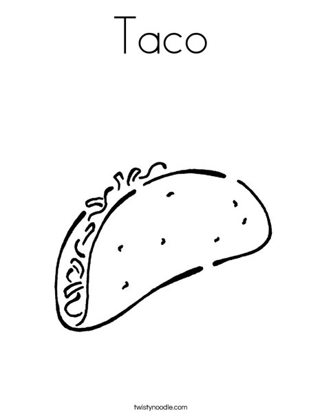 taco coloring pages Taco Coloring Page   Twisty Noodle taco coloring pages