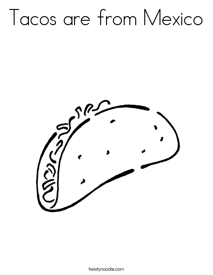 Tacos are from Mexico Coloring Page