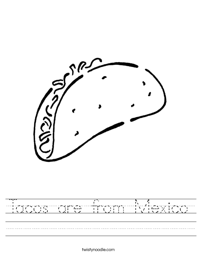Tacos are from Mexico Worksheet