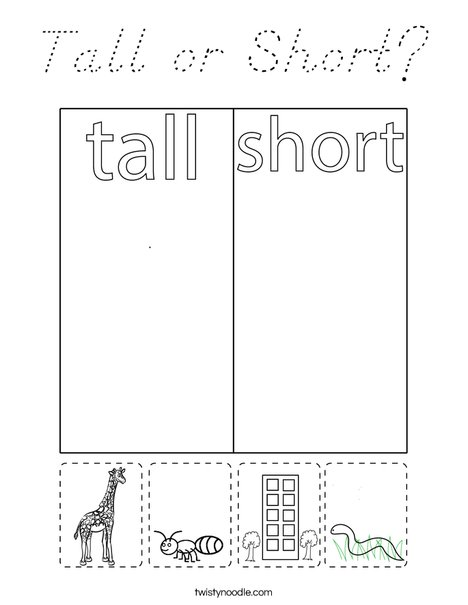 Tall or Short? Coloring Page