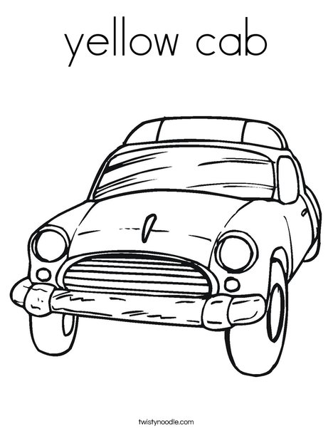 Yellow cab coloring page twisty noodle for Taxi coloring page