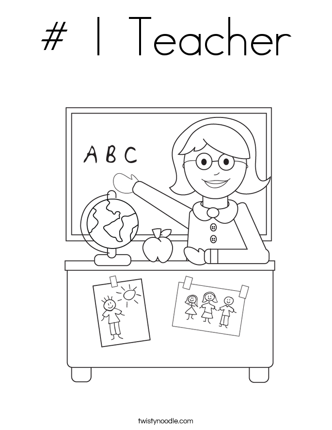 # 1 Teacher Coloring Page