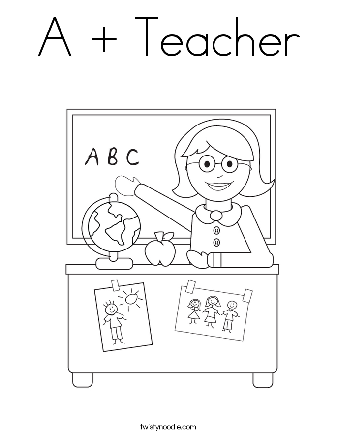 A + Teacher Coloring Page