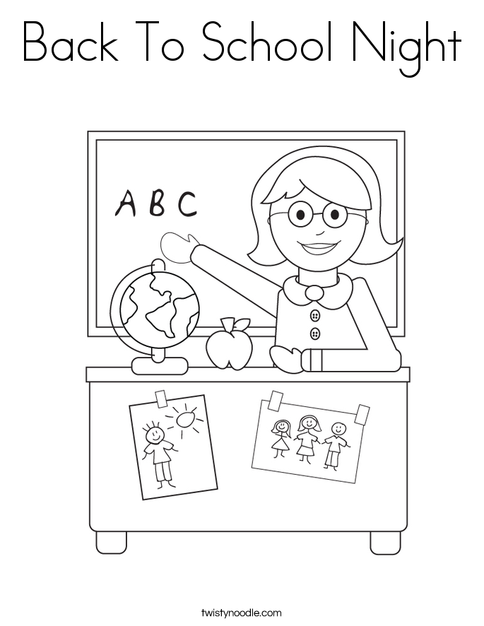 Back To School Night Coloring Page