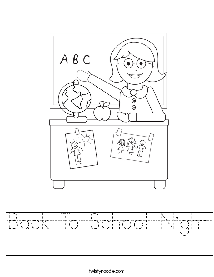 back to school night worksheet twisty noodle. Black Bedroom Furniture Sets. Home Design Ideas