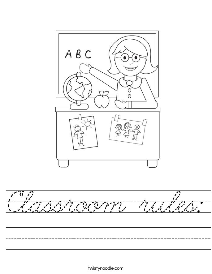classroom rules worksheet cursive twisty noodle. Black Bedroom Furniture Sets. Home Design Ideas