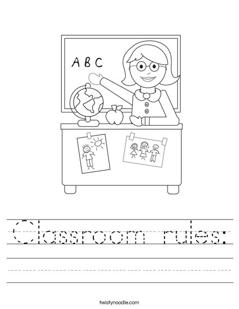 classroom rules worksheet twisty noodle. Black Bedroom Furniture Sets. Home Design Ideas