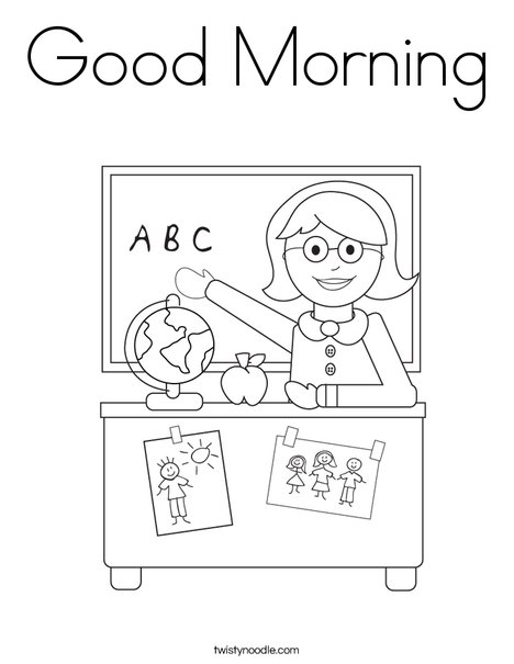 Good Morning Teacher Japanese : Good morning coloring page twisty noodle
