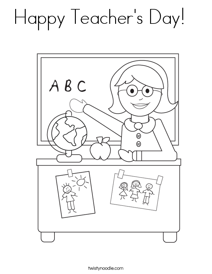 Happy Teacher's Day Coloring Page - Twisty Noodle