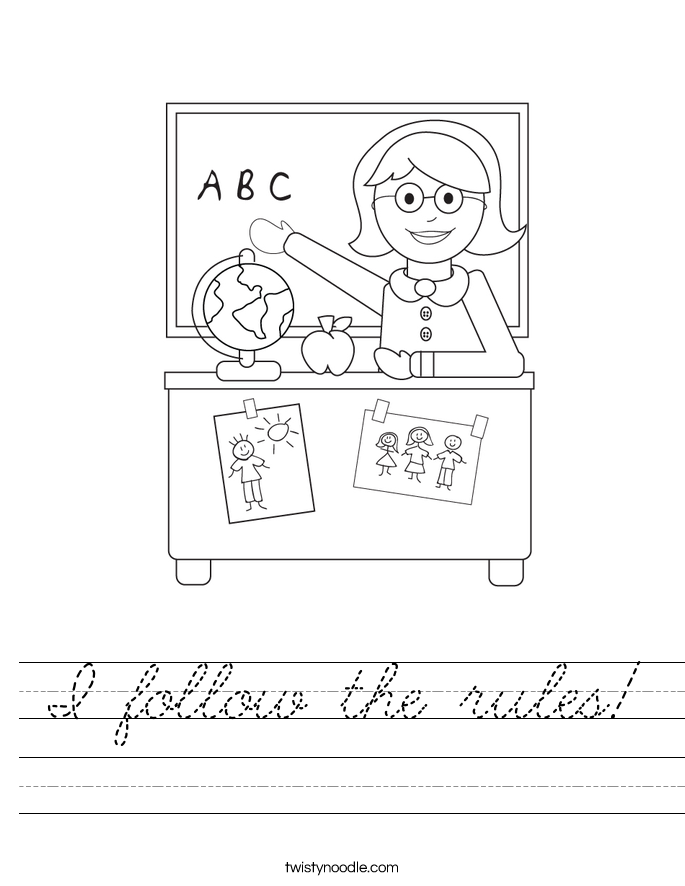 I follow the rules! Worksheet