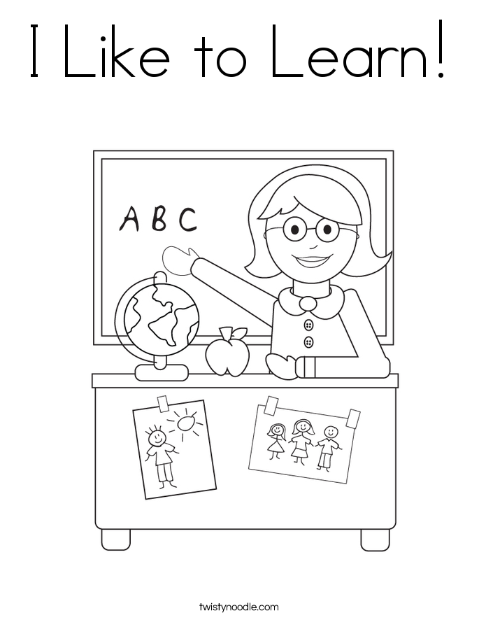 I Like to Learn! Coloring Page