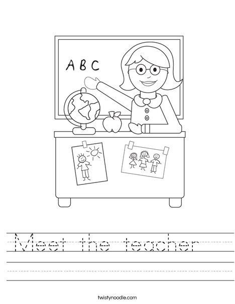 Meet the teacher Worksheet - Twisty Noodle