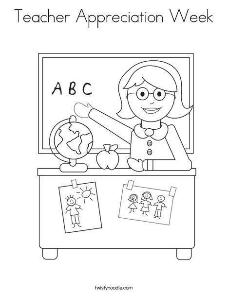 Teacher Appreciation Week Coloring Page - Twisty Noodle
