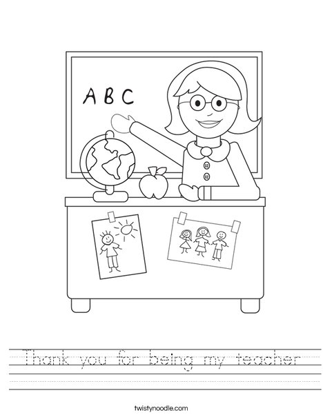 Thank you for being my teacher Worksheet - Twisty Noodle