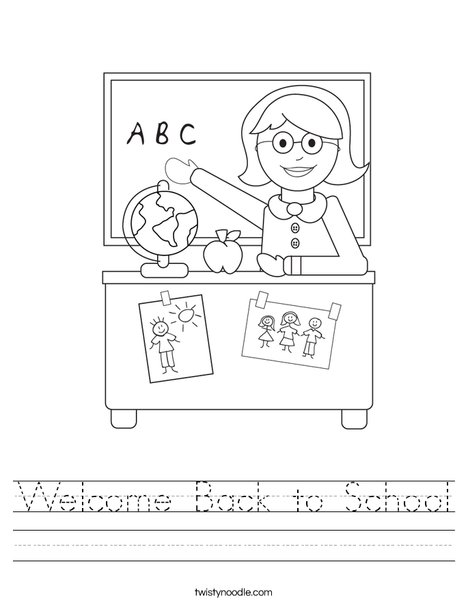 Welcome Back to School Worksheet - Twisty Noodle