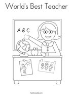 World's Best Teacher Coloring Page