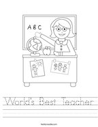 World's Best Teacher Handwriting Sheet