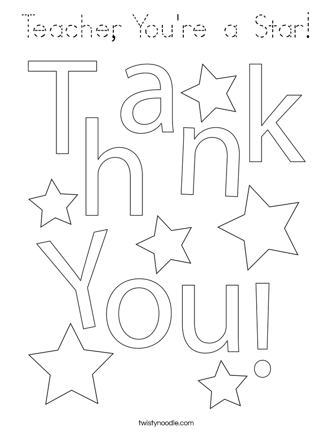 Teacher, You're a Star! Coloring Page
