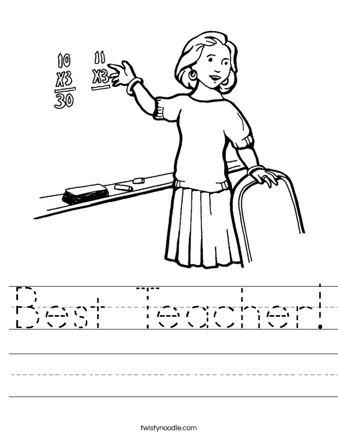 Best Teacher Worksheet - Twisty Noodle