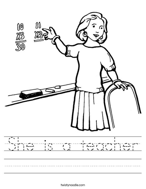 She is a teacher Worksheet - Twisty Noodle